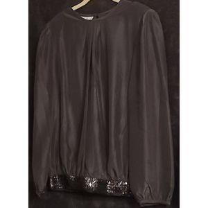 Sequin Hem Black Blouse